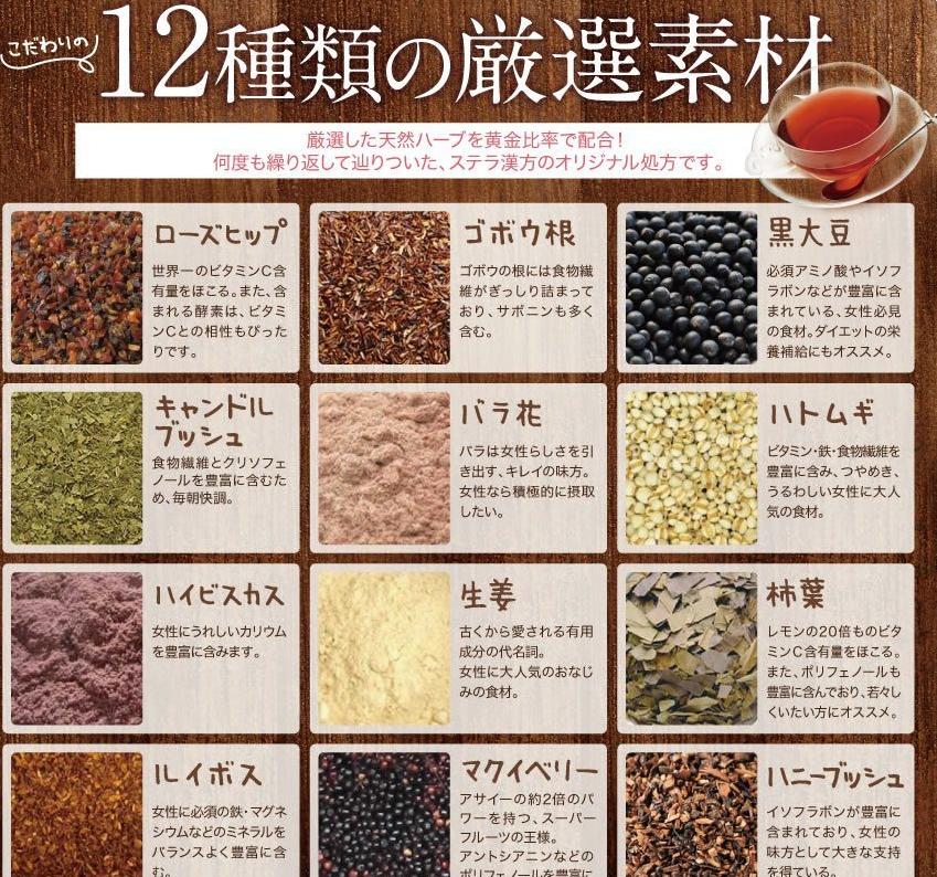 12種類の厳選素材成分